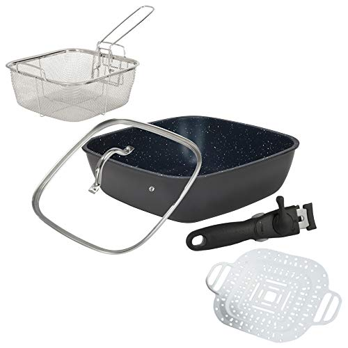 Flavored Stone Diamond Edition 6 Piece Set (Navy) Non-Stick Fry Pans Square Oven Safe (The Pan That Can)