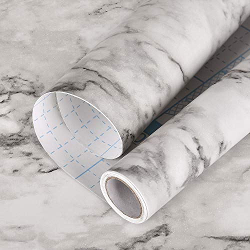 "Symoden Marble Wallpaper, 17.7"" x78.7"" Marble Paper Peel and Stick Wallpaper Grey White Marble Wallpaper Self Adhesive Waterproof Wallpaper Easily Removable for Furniture Cabinets Countertop Kitchen"