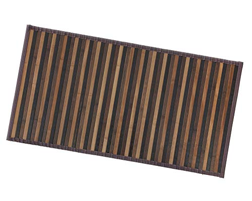 ARREDIAMOINSIEME-nelweb Tappeto Bamboo Legno Stuoia Cucina Bagno Camera Degradè Varie Misure Passatoia bambù Retro Antiscivolo MOD.Bamboo 50X240 Marrone (C)