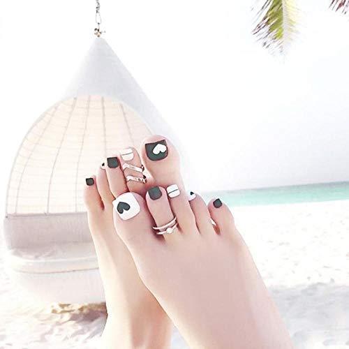 TJJF 24 pièces/boîte avec 2G colle vent plage bord de mer blanc motif en forme de coeur ongles et Greentoenails bouts ongles