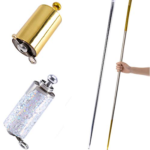 2 Pcs Magic Pocket Staff, Portable Retractable Collapsible Metal Appearing Cane for Professional Magician Stage Staff Magic Tricks Accessories ( Gold, Silver, 43.3Inch )