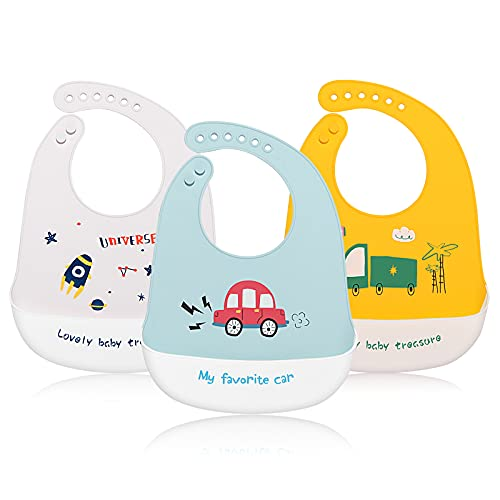 JINPXI Baberos Bebé Silicona Impermeable, Babero de Alimentación con Bolsillo de 4 a 36 meses, Fáciles de LavarySuave Ajustable, Que Recoge la Comida Derramada, Regalo Ideal para Bebés y Niños