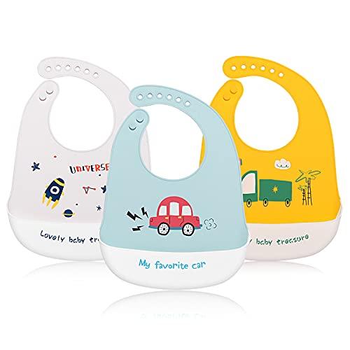 JINPXI Baberos Bebé Silicona Impermeable, Babero de Alimentación con Bolsillo de 4 a 36 meses, Fáciles de Lavar y Suave Ajustable, Regalo Ideal para Bebés y Niños