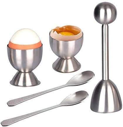 Queta Abridor de Huevos, Herramienta Abierta Huevos hervidos Duros/Blandos, Soporte para Huevos de Acero Inoxidable, Shell Cracker Huevos cáscara con 2 cucharas + 2 hueveras