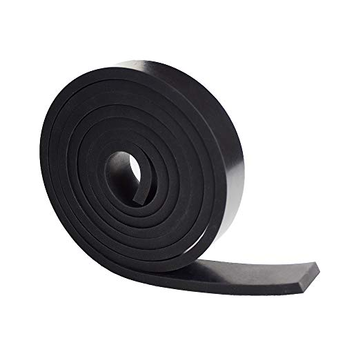 Neoprene Rubber Strips 1/4 (.250)' Thick X 1' Wide X 5' Long, Solid Rubber Rolls Use for Gaskets DIY Material, Supports, Leveling, Sealing, Bumpers, Protection, Abrasion, Flooring, Black