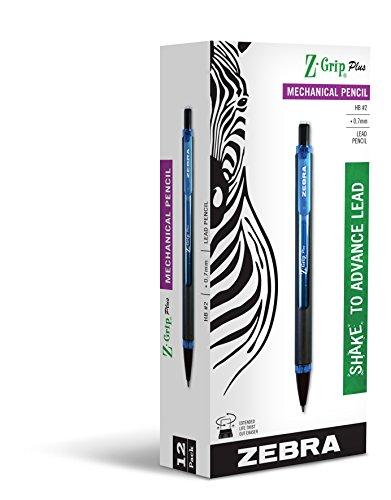 Zebra Z-Grip Plus Mechanical Pencil, 0.7mm, Blue Barrel, 12-Count