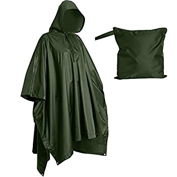 Heavy Duty Reusable Rain Poncho Backpacking Waterproof Lightweight Rain Ponchos for Adults Military Poncho as Emergency Rain Poncho Camping Poncho Men Women with Bag  Adult-Green