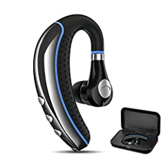 【STYLISH & UNIQUE DESIGN】The 180 degrees rotatable mic allows to adjust the angle and fit this headset in right or left ear. Light and soft design. Unique high-end carrying case protects the headset from damaging and losing. 【SMART FUNCTION & LONG BA...