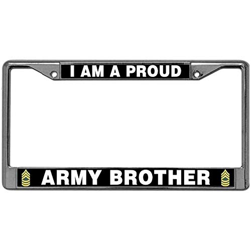 2 Holes Custom Proud Army Brother License Plate Frame US Army Quotes Magnesium Alloy Metal License Plate Frame Automotive License Plate Frame for US Auto
