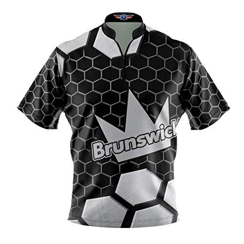 Logo Infusion Bowling Dye-Sublimated Jersey (Sash Collar) - Brunswick Style 0503BR (L) Black White
