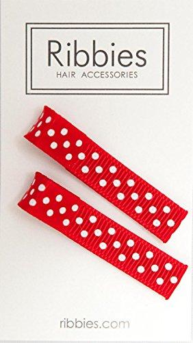Ribbies - Paire de Barrettes anti-glisse enfant Rouge à Pois Blancs - 4,5 cm