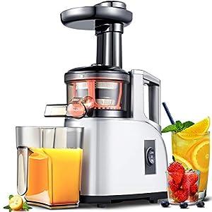 Extractor de zumo AMZCHEF Licuadora Prensado en Frio Licuadoras para verduras y frutas Máquina de Jugo Slow Juicer |Función Inversa/Motor Silencioso/cepillo limpieza/Taza de jugo Sin BPA