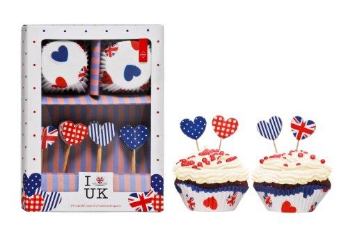 Premier Housewares 0805169 Set de 24 Formes Moule à Muffin I Love UK + 4 Pièces de Forme Assortis