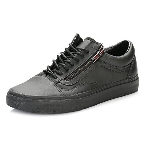 Vans Damen Gunmetal Schwarz Old Skool Reißverschluss Sneakers-UK 4