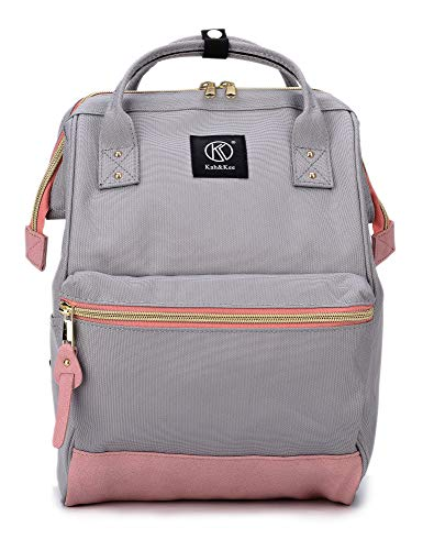 Kah&Kee Polyester Backpack Diaper Bag with Laptop Compartment Travel Functional Anti-Theft School for Women Man (Light Grey/Pink, Small)