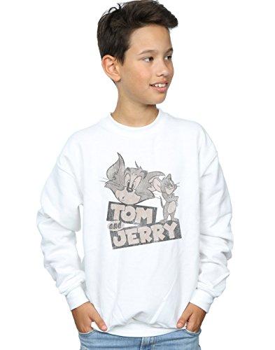Tom and Jerry Jungen Cartoon Wink Sweatshirt Weiß 7-8 Years