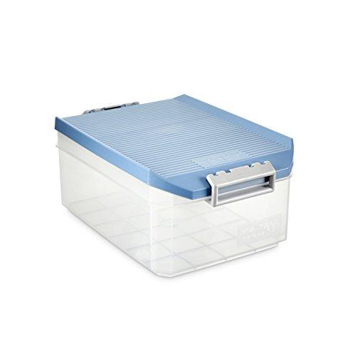 Tatay Caja Almacenaje Multiusos con Tapa, 4.5 L de Capacidad, Con Asas, de Polipropileno, Libre de BPA, Azul Paloma, Medidas 12 x 30 x 19 cm