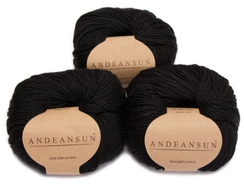 (Set of 3) 100% Baby Alpaca Yarn DK #3 (150 Grams Total) Luxuriously Cozy and Caring Soft to Enjoy Knitting, Crocheting and Weaving - Gorgeous Twist and Stitch Definition (Black)