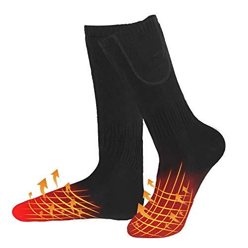 WATERFLY Beheizbare Socken für Herren Damen, Wiederaufladbarem Batterie Beheizte Socken, Winter-Baumwollsocken Fußwärmer mit 3 Einstellbarer Temperatur für Outdoor/Skifahren/Angeln/Jagd/Camping