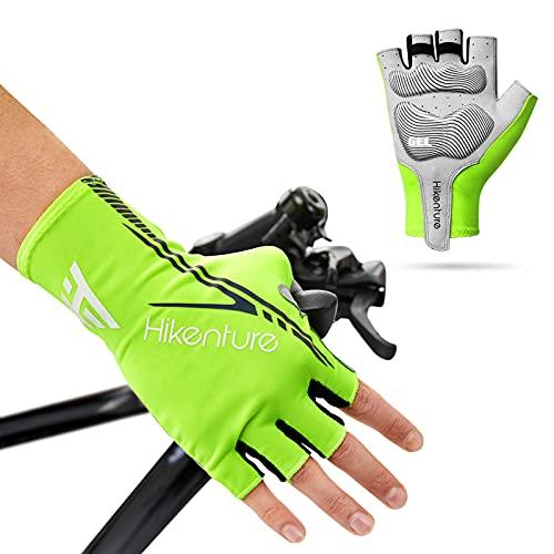 Hikenture Cycling Gloves for Men Women Road Bike Gloves Half Finger Padded Bicycle Glove(Green L)