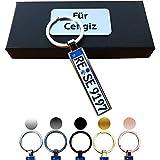 B4P Schlüsselanhänger Kennzeichen Nummernschild Auto KFZ Individuell als Geschenk Für Autoliebhaber Autofans Männer Mini mit Namen personalisiert
