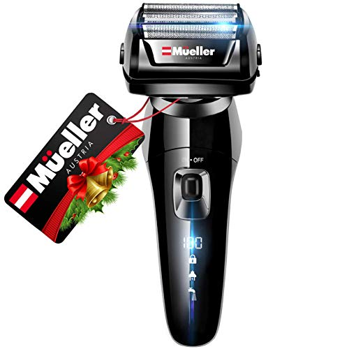 Mueller Austria Electric Razor for Men, 5-Element Cutting System, Wet/Dry, Rechargeable, Precision Trimmer, LED, 40,000 Cross-Cutting Actions/Min For Closest Shave