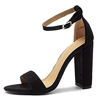 Herstyle Rosemmina Womens Open Toe Ankle Strap Chunky Block High Heel Dress Party Pump Sandals Black 7.0