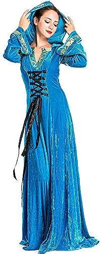 estar en gran demanda Sttsale Disfraz Halloween, Traje azul de Corte Corte Corte Europeo, Traje de Juego de Halloween, Traje de anfitriona Medieval, Vestido de Noche  venta con descuento