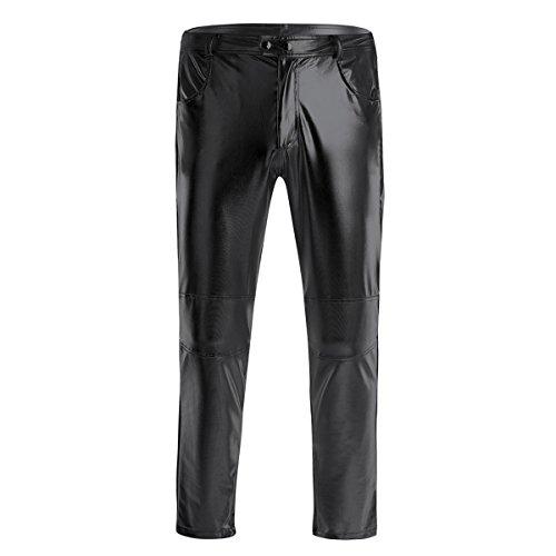iiniim Herren Hosen Wetlook Männer Lederhose Glanz Hose Pants Leggings Tanz Clubwear Schwarz M-4XL Schwarz 3XL