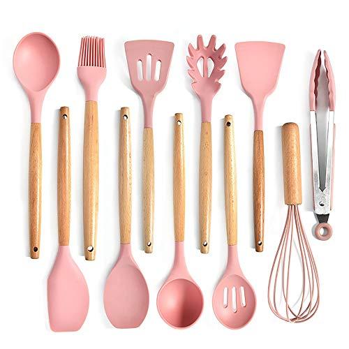 RYDZTMZ Silicone Kitchen Utensils with Wooden Handle, Kitchen Utensils, cookware Spatula Set