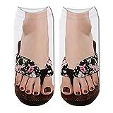 SIHIELOA 5 Paar 3D Gedruckt Damen Strand Hausschuhe Muster Kurze Socken Sommer Frauen Sandalen Hausschuhe Söckchen 3