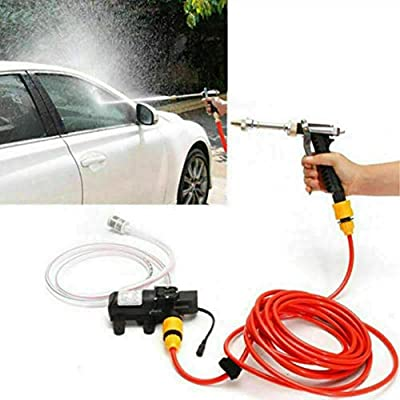 MASO Portable High Pressure Washer 12V, Car Electric Water Cleaner Wash Pump Kit +Jet Wash Cleaner Hose for Car Home Garden Wash by Maso