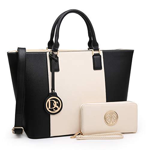 DASEIN Women's Handbags Purses Large Tote Shoulder Bag Top Handle Satchel Bag for Work (5-Beige/Black + Matching Wallet)
