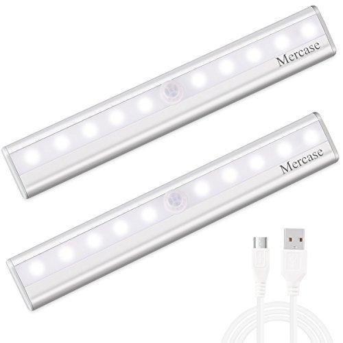 Luce Notte Led con Sensore,Ricaricabile Usb Luce LED Sensore di Movimento con Striscia Magnetica Adesiva,Luce Notte led per Scale,Corridoio,Armadio,Cucina etc-Auto/On/Off(Confezione da 2)