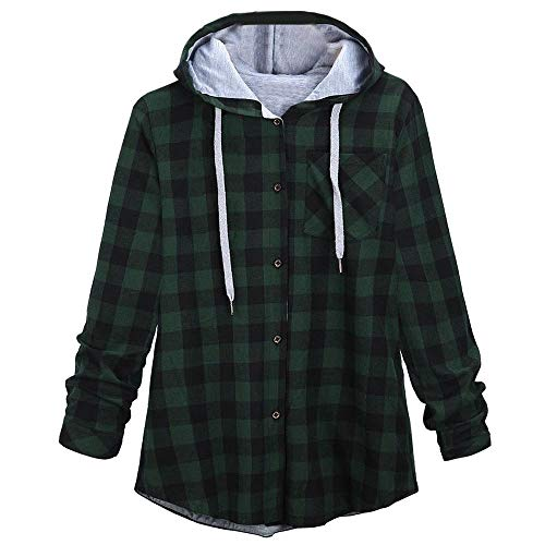 KIMODO Pullover Damen Lang Herbst Winter Plaid Sweatshirts Kapuzenpullover Hoodie Kapuzenjacke Bluse Oversize Tops Mode
