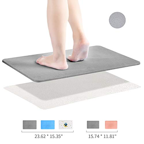Diatomaceous Earth Bath Mat, DZY Nonslip Absorbent Bath Mat - Fast Drying Hard Bathroom Floor Shower Mats with Additional Anti-slip Mat, Sandpaper, 23.62 x 15.35 inch, Grey