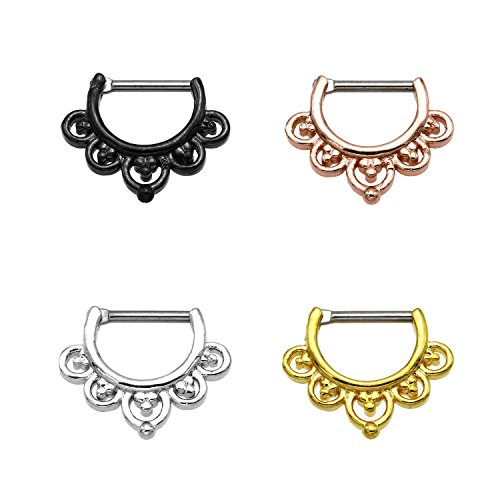 Titan Karisma G23 SETTO naso anello piercing da naso anello Clicker Segment - 1,2 x 8 mm TSC-h005, Titanio, colore: Oro, cod. TSC-H005
