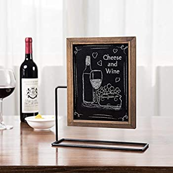 MyGift Rustic Wood Tabletop Dual-Sided Chalkboard Sign with Metal Stand