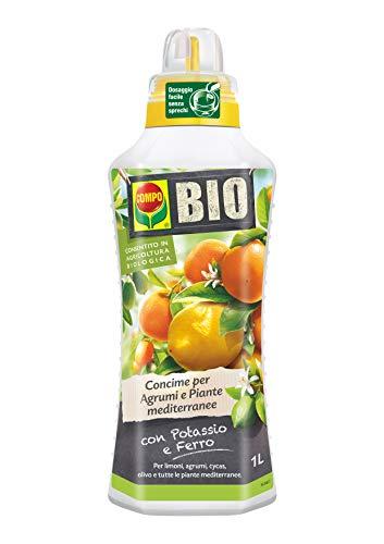 COMPO BIO Concime Liquido per Agrumi e Piante Mediterranee, Con Potassio e Ferro, Con tappo dosatore, 1 litro