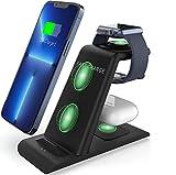 SPGUARD Caricatore Wireless,Caricabatterie Wireless 3 in 1 Stazione di Ricarica Qi Rapida Wireless compatibile con Apple iPhone 13/13 Pro/Pro Max/12/11 X/XS/XR,iWatch 7/6/5/4/3/2/SE,Air pods pro/2