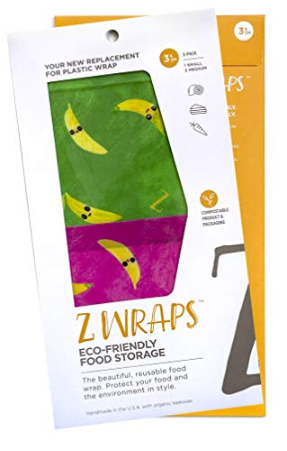 Z Wraps Multi 3-Pack, Reusable Beeswax Food Wrap and Food Storage Saver, Alternative to Plastic Wrap, Sustainable, Eco-Friendly Beeswax Food Wraps - 1Small, 2Medium (Bananas - Pink/Green)