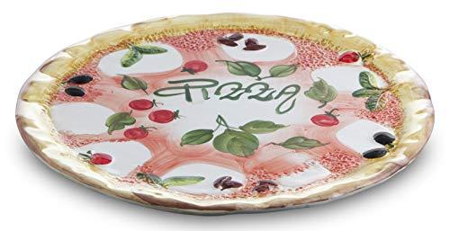 Bassano Ausgefallene italienische Keramik, runder Pizzateller 38 cm