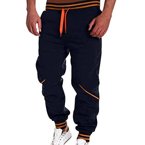 WXZZ Pantalones de chándal para hombre, costuras de color, pantalones de deporte, pantalones de ocio, cómodos, largos, marine, M