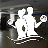 yaonuli Fitness Club Decal Gym Dumbbell Vinilo Adhesivo de Pared Fitness Decal 93X58cm