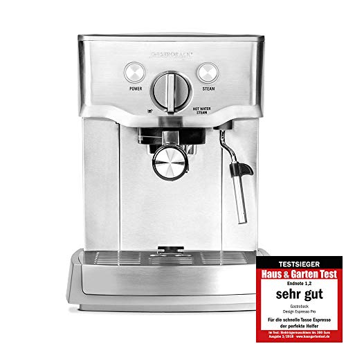 Gastroback 42709 Design Espresso Pro, Espressomaschine mit Siebträger, Milchaufschäumdüse, 15 bar, 1.5 L, Thermoblock-Heizsystem, 18/8 Edelstahl
