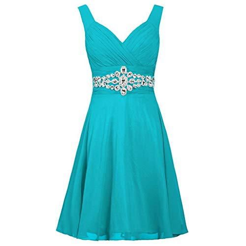 Pervobs Dress for Women Formal Wedding Bridesmaid Dresses High-Waist Sleeveless Party Ball Prom Gown Cocktail Dress(2XL, Z02-Light Blue)