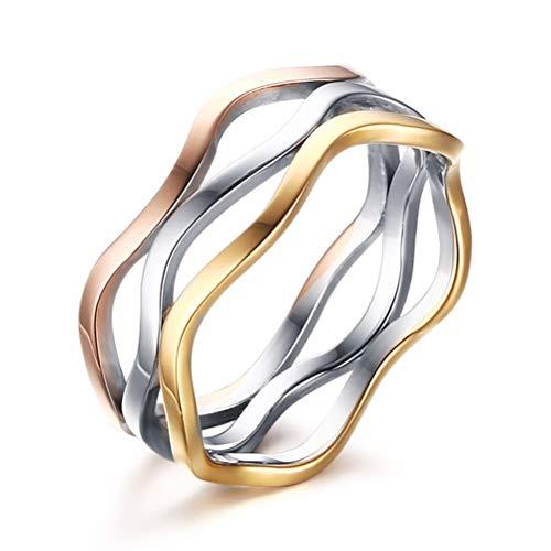 Oidea 3 Anelli Intrecciati irregolare Donna Fidanzamento Acciaio inossidabile Argento Oro Rosa