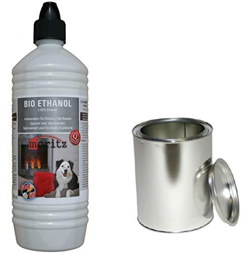 Moritz Starter Set 1 x 1000 ml Bio Ethanol + 1x Blechdose 500 ml mit Deckel für Brenner Kamin Ofen Sicherheitsbrenner Brennpaste