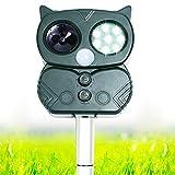 Chomang Ahuyentador de gatos por ultrasonidos – repelente solar para gatos y animales para jardín – Repelente de aves recargable para gatos, perros, ratones y zorros con 5 modos ajustables