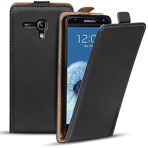 Verco Funda Flip Cover para Samsung Galaxy S3 Mini, Carcasa Delgado Vertical Plegable Case para Samsung S3 Mini Funda Teléfono, Negro